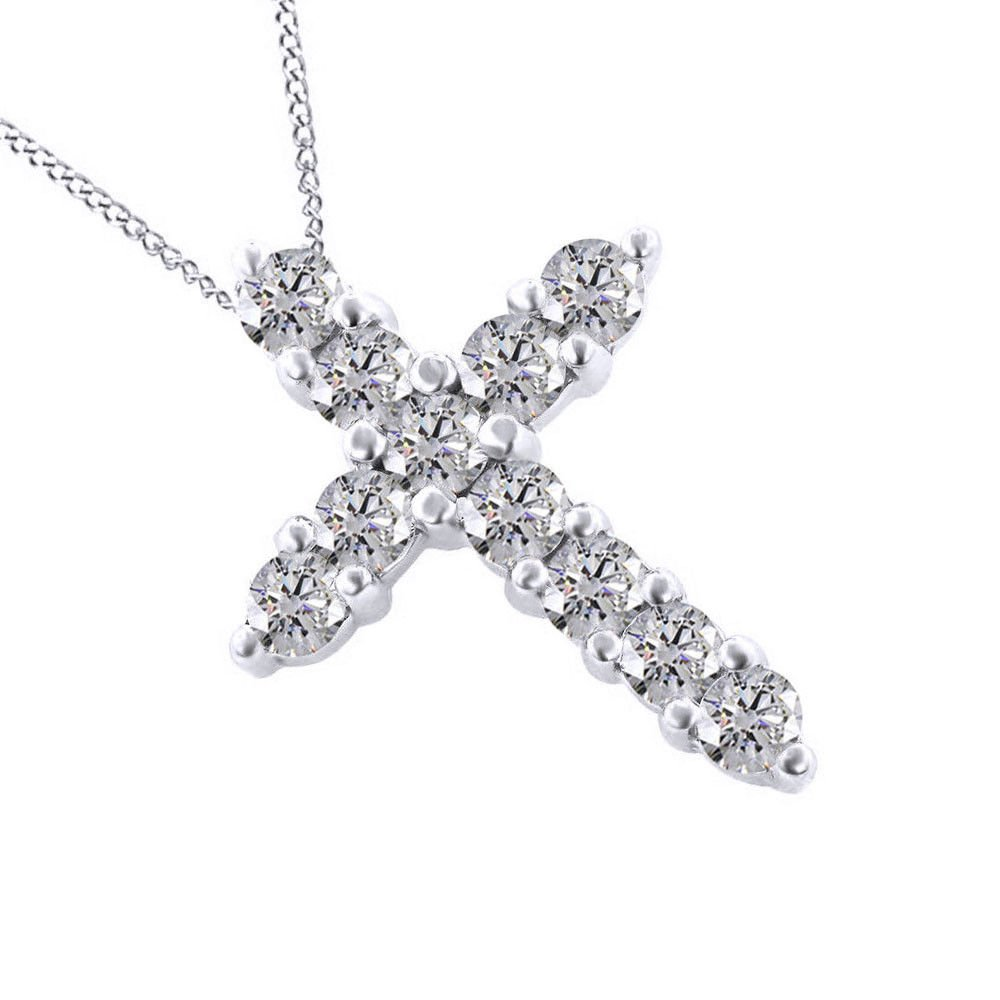SwaraEcom White Gold Plated Round 1.00 Ct Cubic Zirconia Religious Cross Pendant Necklace Summer Sale