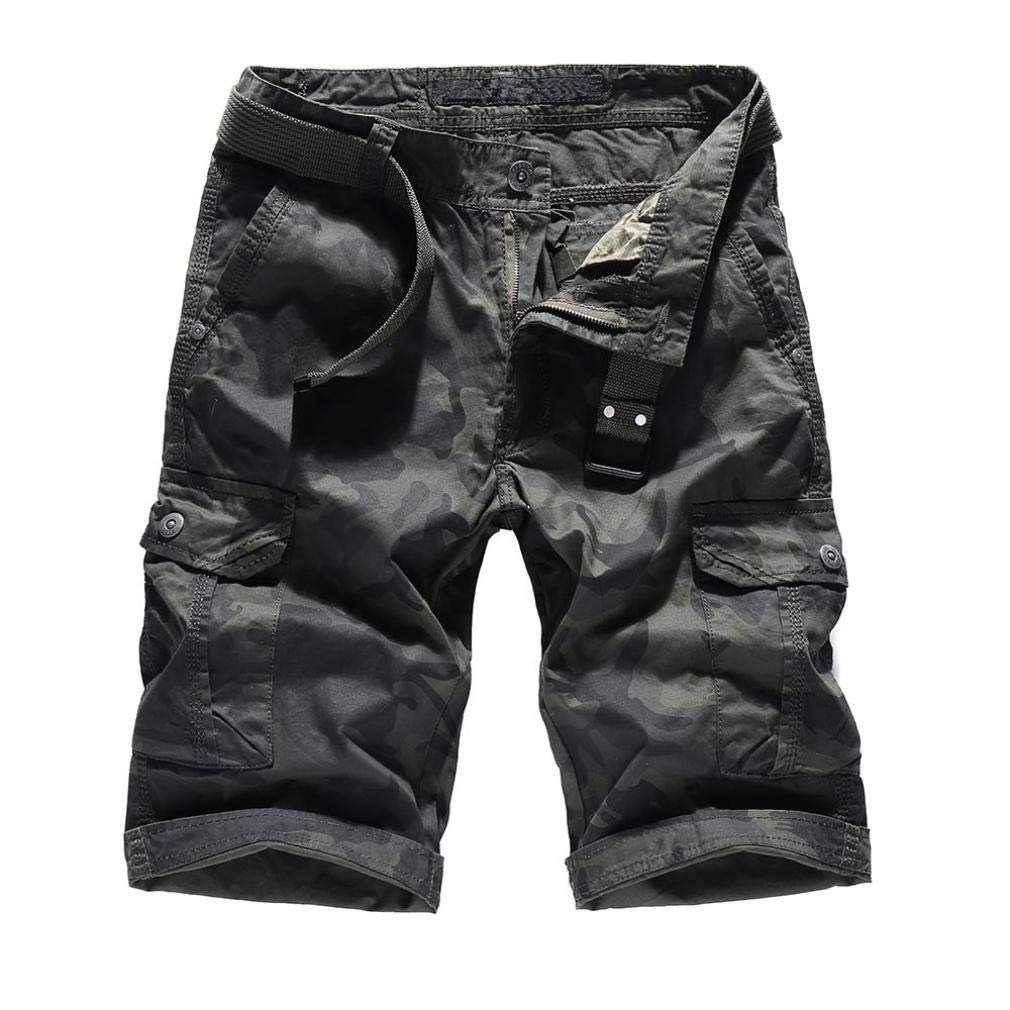 Dacawin Multi-Pockets Casual Camouflage Cargo Shorts Pants Men Relaxed Fit Outdoors Work Beach Trousers+Belt
