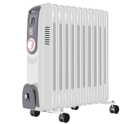 fam famgizmo Small Oil Filled Radiator Portable Electric Heater with Thermostat Thermal Safety Cut off 1000w 9 Fins Overheat Protection