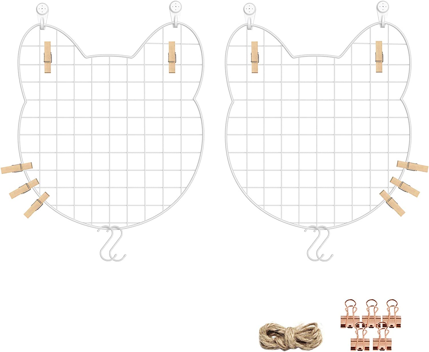 Clips Wall Storage Organizer with Hooks Multifunctional Photo Hanging Display Mallet Cat-Face Shaped Metal Wall Decor White ULPP03W 12.2 x 13.8 Inches Set of 2 SONGMICS Grid Photo Wall