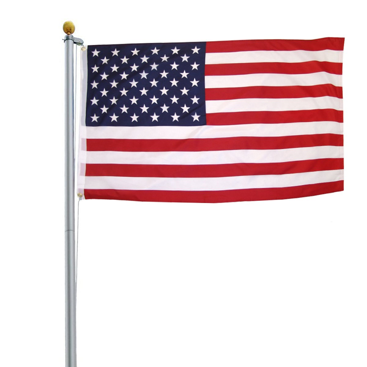 ZENY 25FT Sectional Aluminum Flag Pole Free 3'x5' US Flag & Ball Top Kit Outdoor Garden Flagpole Residential or Commercial Use