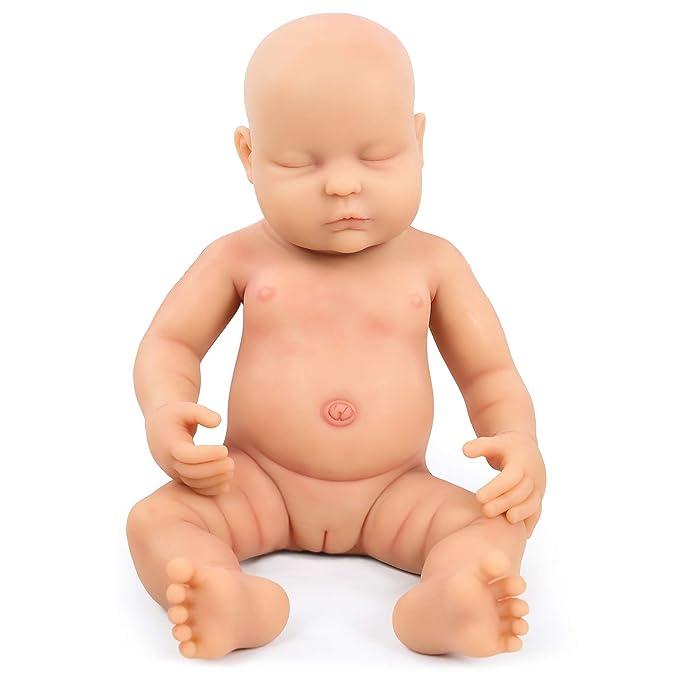Vollence 46cm Lebensechte Reborn Babypuppen, die Echt Aussehen, PVC-Frei, Echte Realistische Baby Puppe mit vollgewichtetem K
