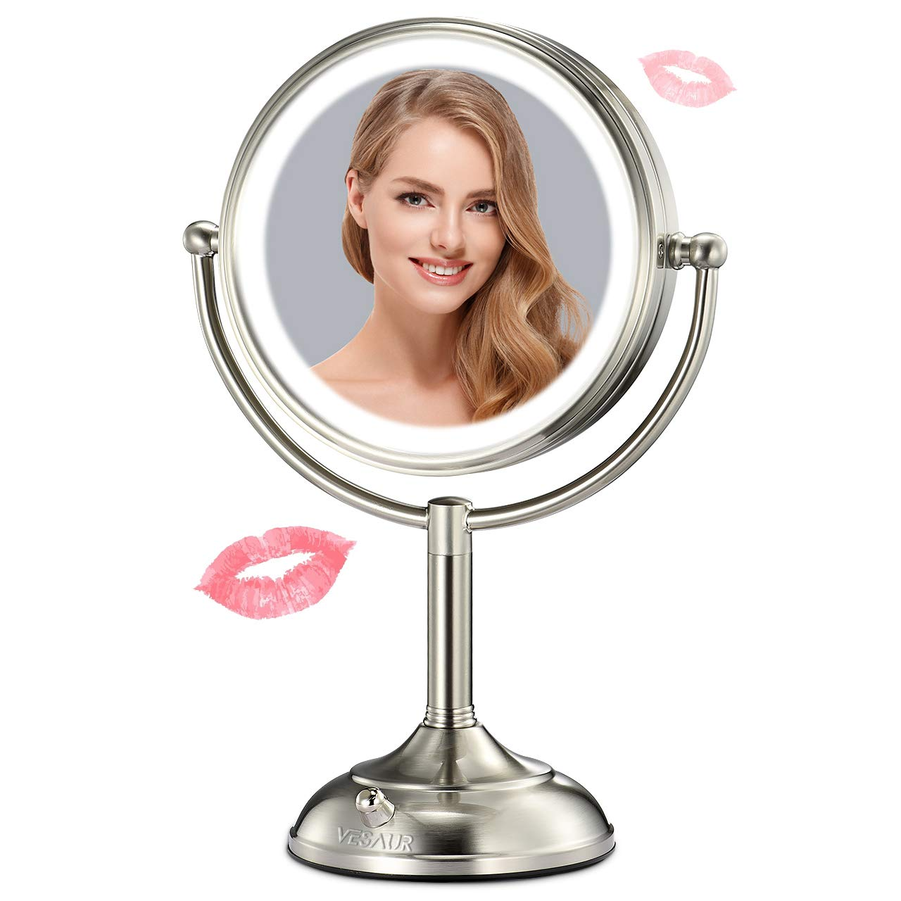 "VESAUR Professional 7.5"" Lighted Makeup Mirror, 10X Magnifying Vanity Mirror with 28 Medical LED Lights, Senior Pearl Nickel Cosmetic Mirror, Brightness Adjustable(0-1100Lux) Desk Lamp Alternative"