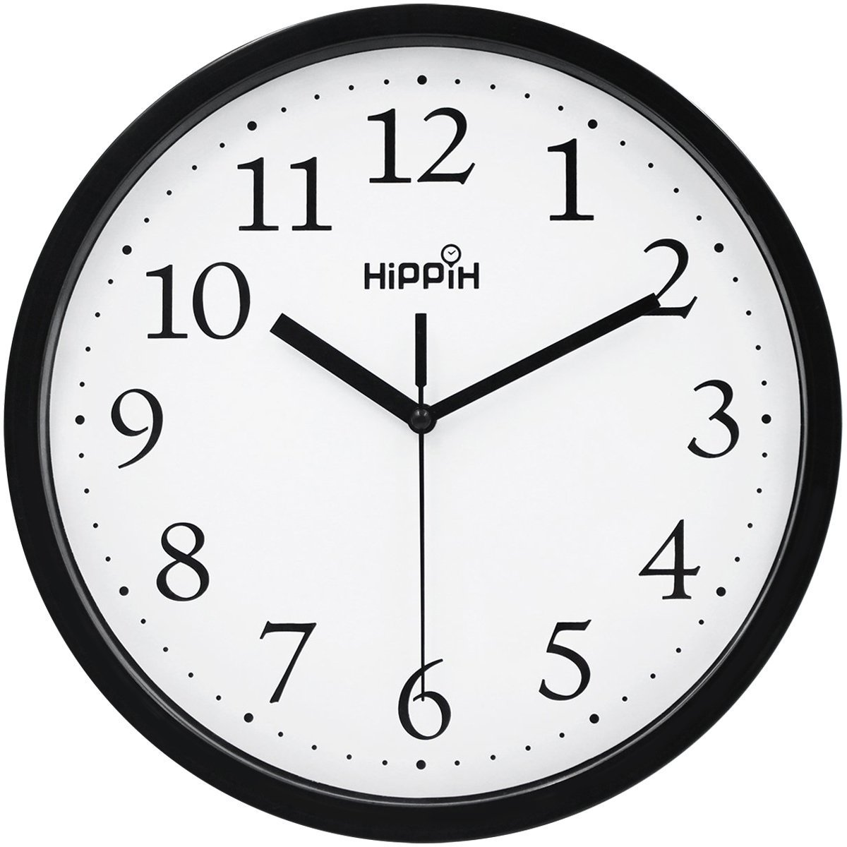 Amazon hippih black wall clock silent non ticking quality amazon hippih black wall clock silent non ticking quality quartz 10 inch round easy to read for home office school clock home kitchen amipublicfo Choice Image