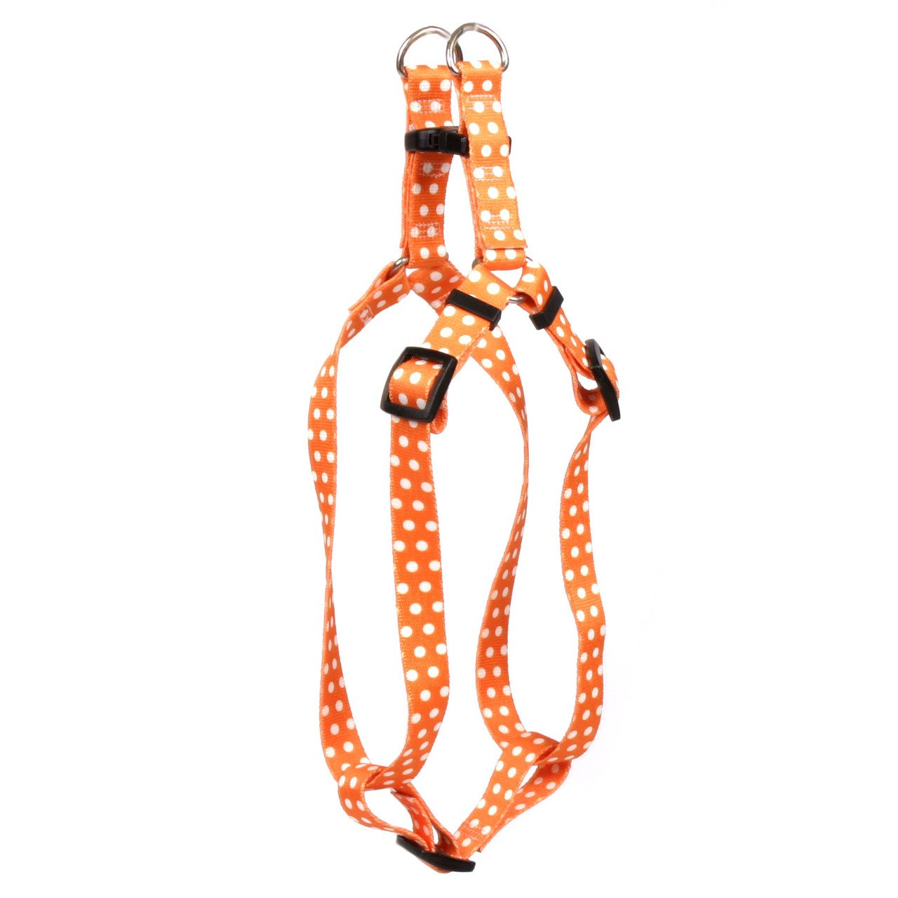 Yellow Dog Design Orange Polka Dot Step-in Dog Harness, X-Small-3/8 Wide and fits Chest of 4.5 to 9'' by Yellow Dog Design