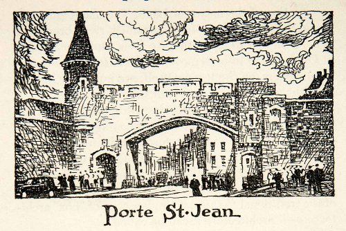 1947 Lithograph Porte St. Jean Quebec Canada Rampart Fortifications Military Art - Original In-Text - Military Canada Oakley