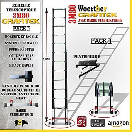 ECHELLE T/ÉLESCOPIQUE 4M40 GRAFITEK AVEC BARRE STABILISATRICE AVEC PLATEFORME