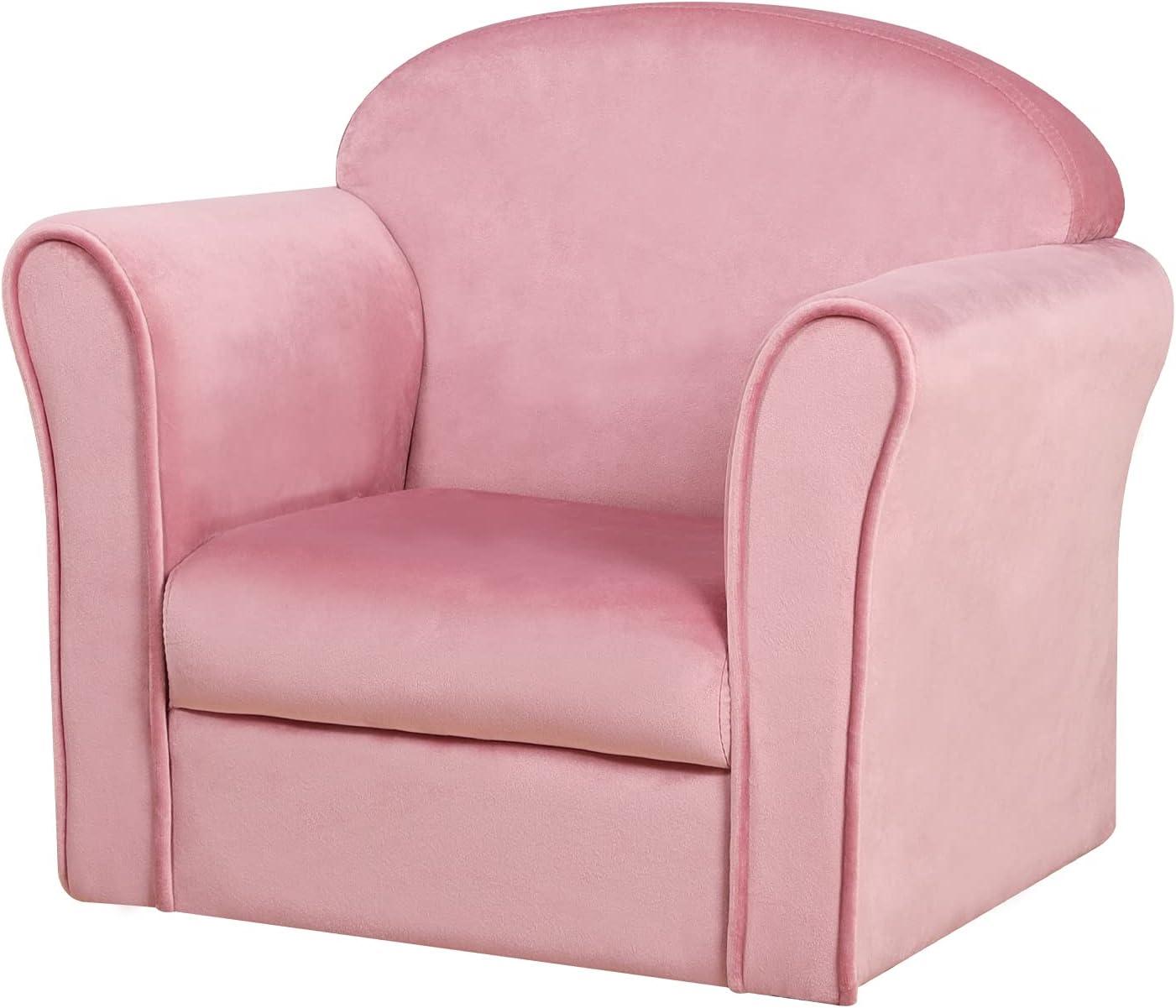 Single Velvet Kids Sofa Chair, Upholstered Toddler Mini Armrest Chair, Bbay Furniture Gift for Boys & Girls (Pink)