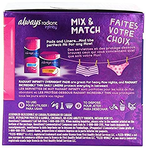Amazon.com: Always Totally Teen Always Radiant Infinity Pads, 14 Count - Pack of 2: Health & Personal Care
