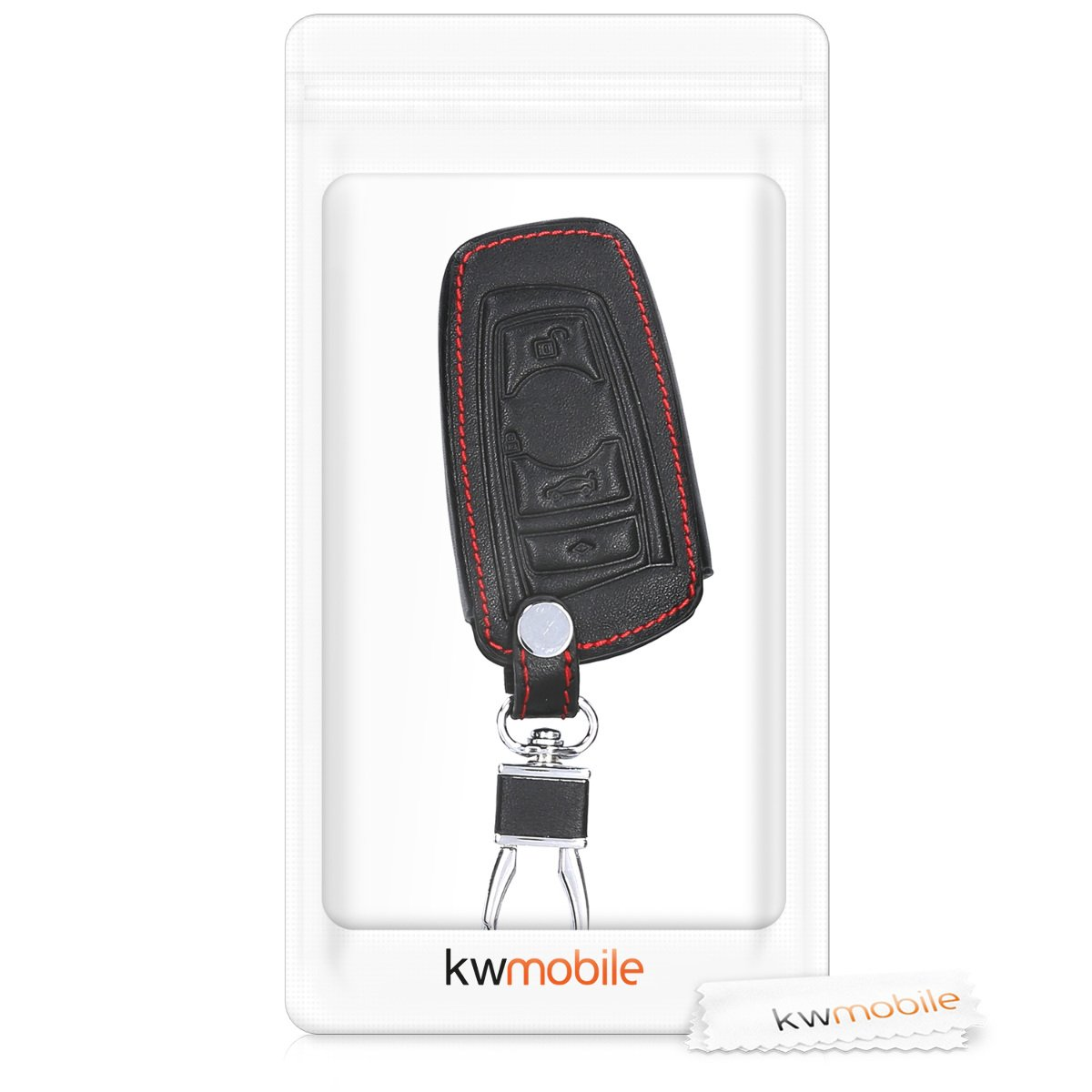 only Keyless Go kwmobile Car Key Cover for BMW Heavy Duty PU Leather Protective Key Fob Cover for BMW 3 Button Remote Control Car Key - Black