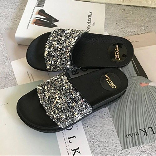 Guang E Ciabatte 37 Spiaggia Wordsilver Sandali Slippers Donna Da Wild Donna 37 Fashion Xing wordblack px1daqwa