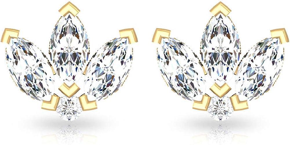 Dainty Marquesa Diamond IGI Certified Leaf Stud Pendiente, Corona Diamante IJ-SI Color Clarity Cartílago Pendientes, antiguo Beaded Tragus Caracol Pendiente, tornillo hacia atrás