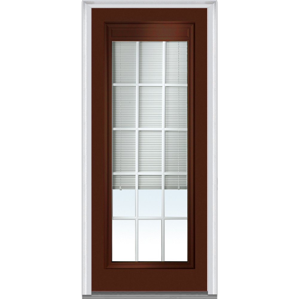 National Door Company Z010551L Steel Redwood, Left Hand In-swing, Prehung Door, Full Lite, Clear Low-E Glass with RLB and GBG, 32'' x 80''