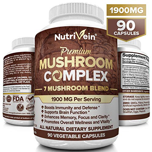 (Nutrivein Mushroom Supplement 1900mg - 90 Capsules - 7 Blend Lions Mane, Cordyceps, Chaga, Reishi, Turkey Tail, Maitake, Shiitake - Immune System & Nootropic Brain Booster Complex for Energy & Focus)