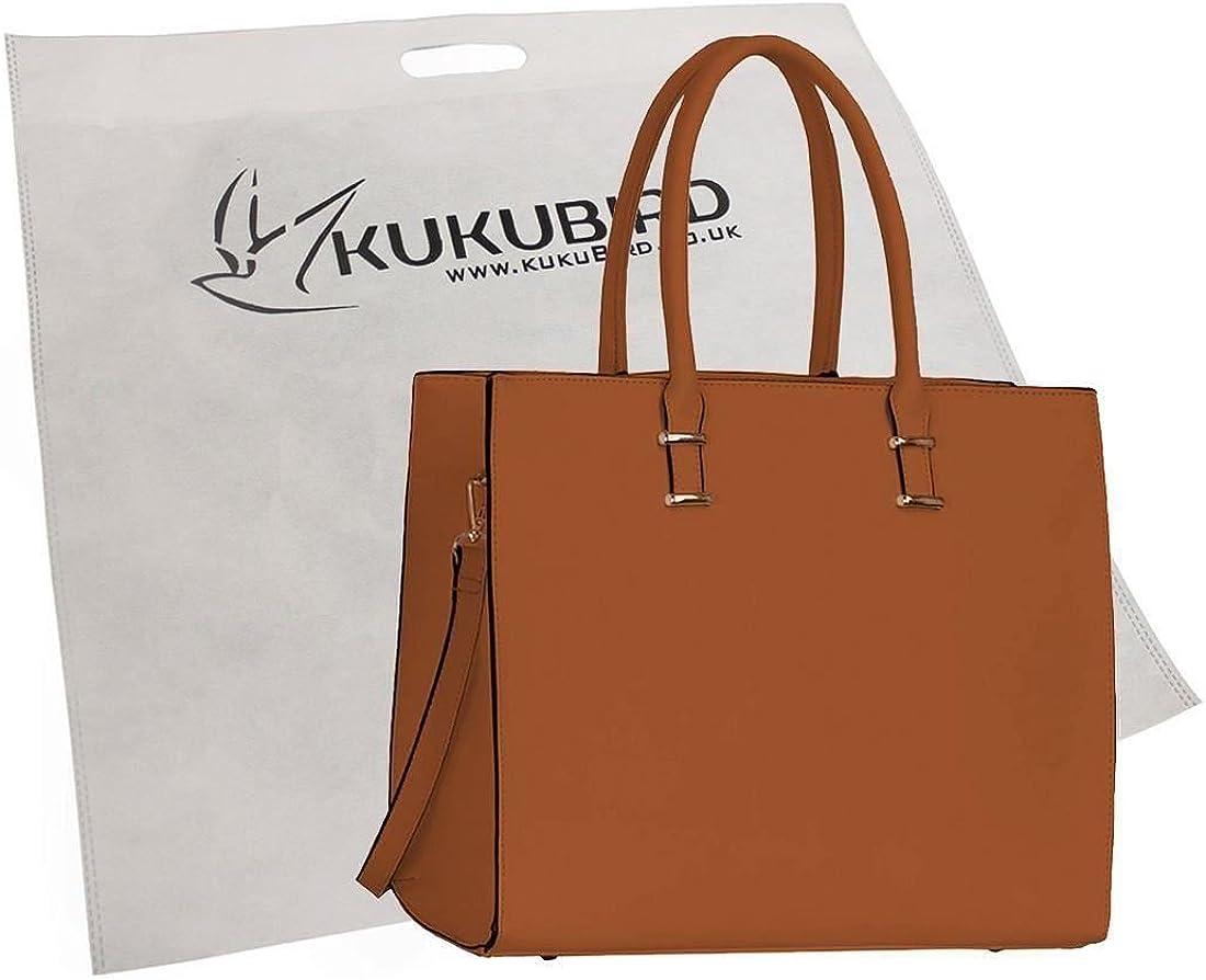 Kukubird 4G Faux Leather Womens Fashion Tote BagWith Kukubird Dustbag White