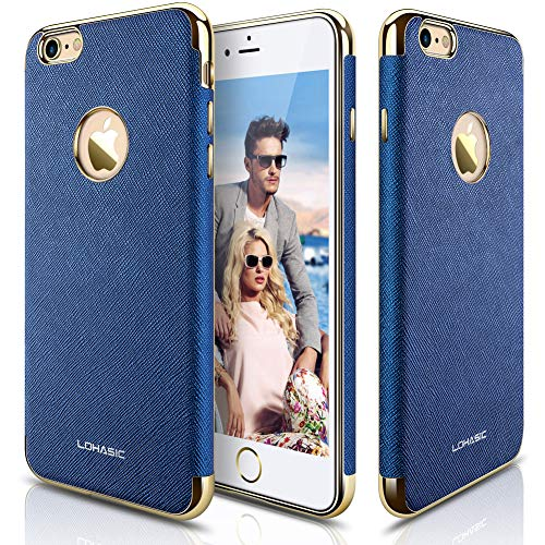 us Case, [Luxury Leather] Slim Fit Cover Soft [Non-Slip Grip] New Textured Gold Electroplated Frame Protective Cases Compatible with iPhone 6s Plus iPhone 6 Plus - Royal Blue ()