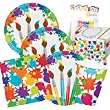 Art Party Theme Supplies Pack Deluxe Bundle (Serves-16) Dinner Plates, Luncheon Napkins, Cups, and Tablecloth Paint Splatter Party Supply Tableware Set Kit includes Birthday Candles