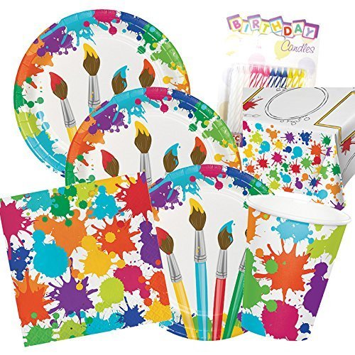 (Art Party Theme Supplies Pack Deluxe Bundle (Serves-16) Dinner Plates, Luncheon Napkins, Cups, and Tablecloth Paint Splatter Party Supply Tableware Set Kit includes Birthday)
