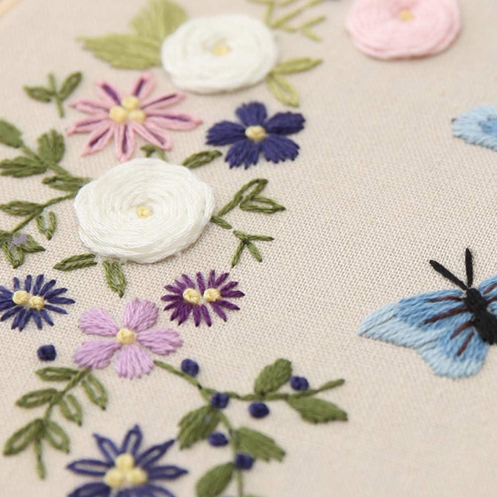 RainbowBeauty Xiton Kreuzstich Kit Stickerei Ornamente Blumen-Schmetterling-gestempeltes Muster Handwerk Stickerei F/ür Anf/änger Dekoration
