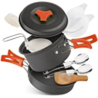 Camping Stove Cookware Mess Kit W Piezo Ignition Mini Gas Stove Windproof and Collapsible Camp Burner for Outdoor Backpacking (Butane/Butane Propane Canister Compatible)