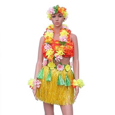 Amosfun 6 Piezas de Falda de Hierba Hawaiana Conjunto Traje ...