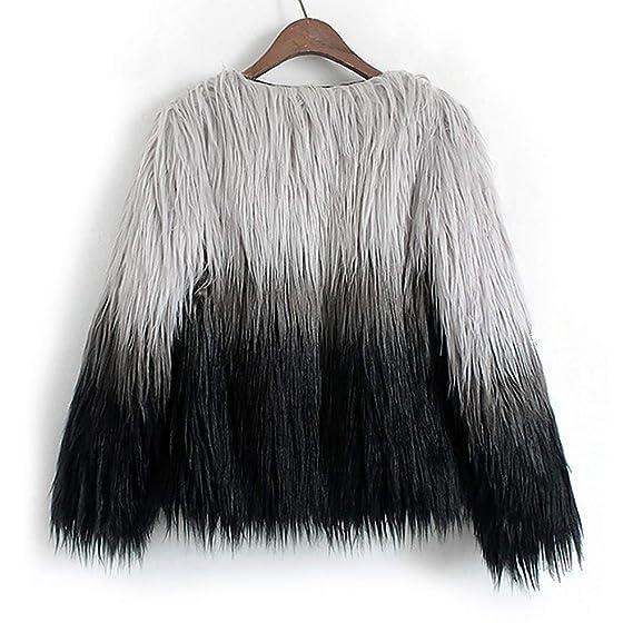 Yvelands Abrigos de Piel para Mujer y Talla Grande, Chaqueta de gradiente de Piel sintética para Mujer Ropa de Abrigo de Invierno Artificial: Amazon.es: ...