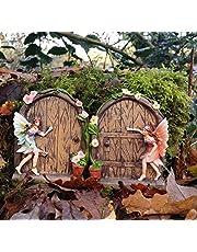 Uppsättning av 2 gnistrande älva dörr trädgård hemprydnad.