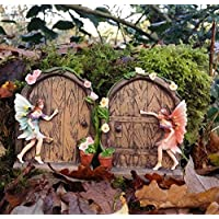Set of 2 Sparkle Fairy Door Garden Home