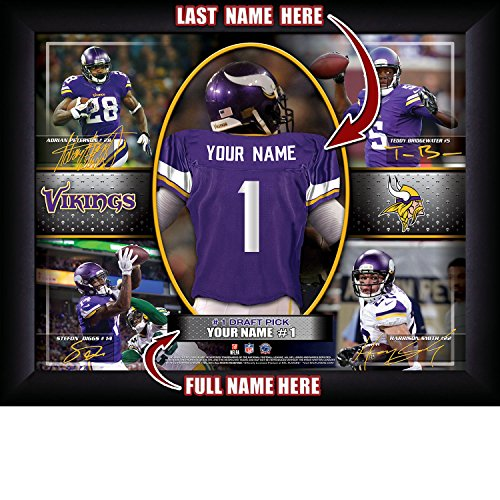 Minnesota Vikings Personalized NFL Football Number One Draft Pick Action Autograph Collage Framed Art Print 13x16 Inches