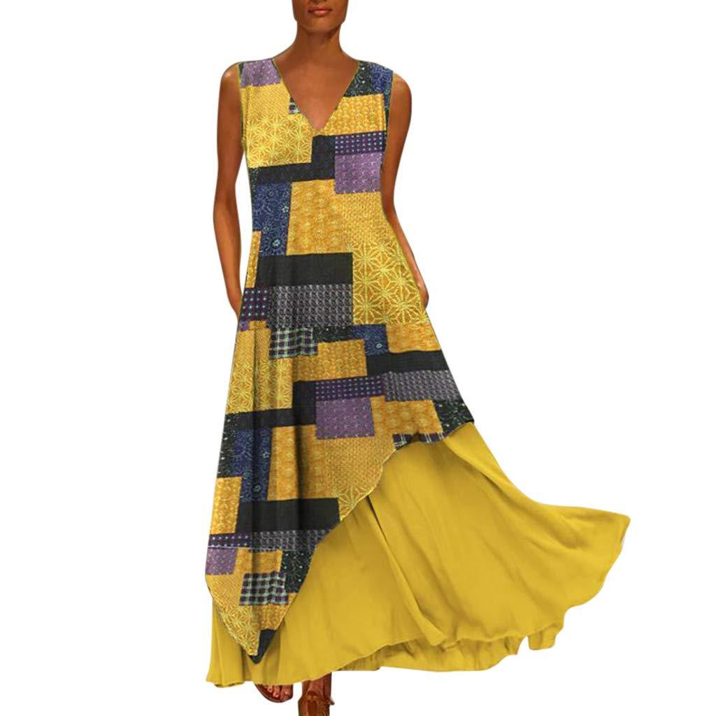 Vestido bohemio para mujer, cuello en V, vestido de verano ...