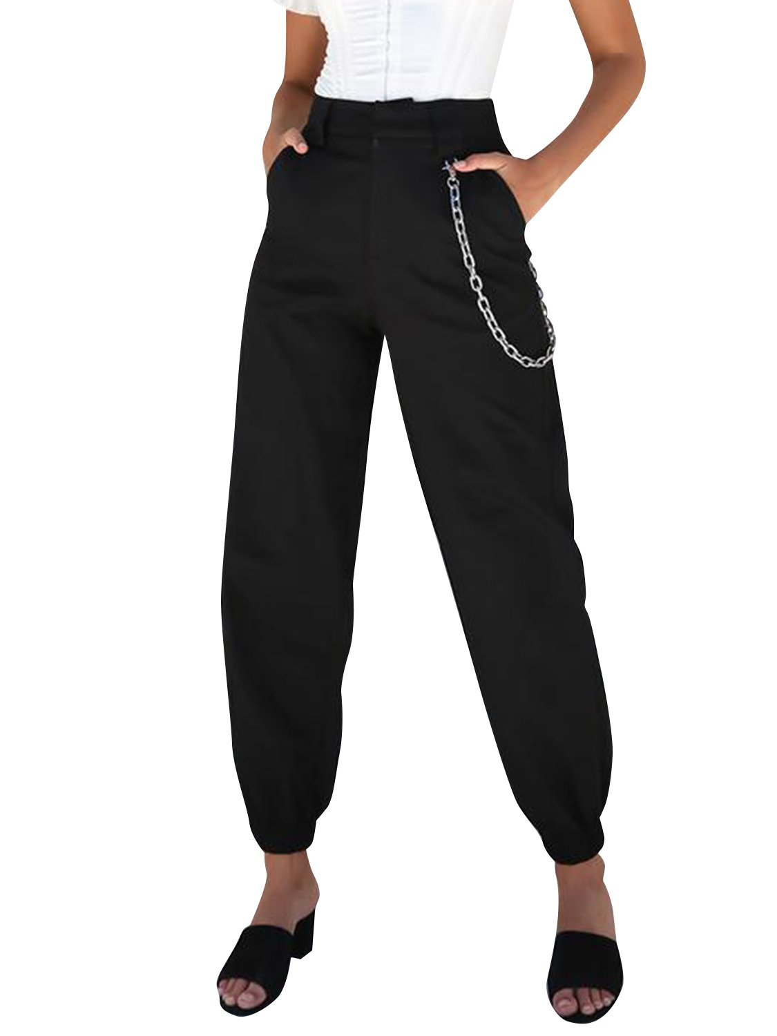 Glamaker Women's Casual Relaxed Fit High Waist Crogo Pants Jogger Trousers Harem Pants Plus Size Black