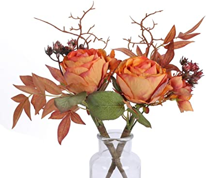 Nahuaa 2pezzi Rose Artificiali Arancioni Fiori Finti Artificiali Fiori Di Plastica Fiori Per Decorazione Vacanze Matrimonio Casa Camera Da Letto Cucina Giardino Amazon It Casa E Cucina