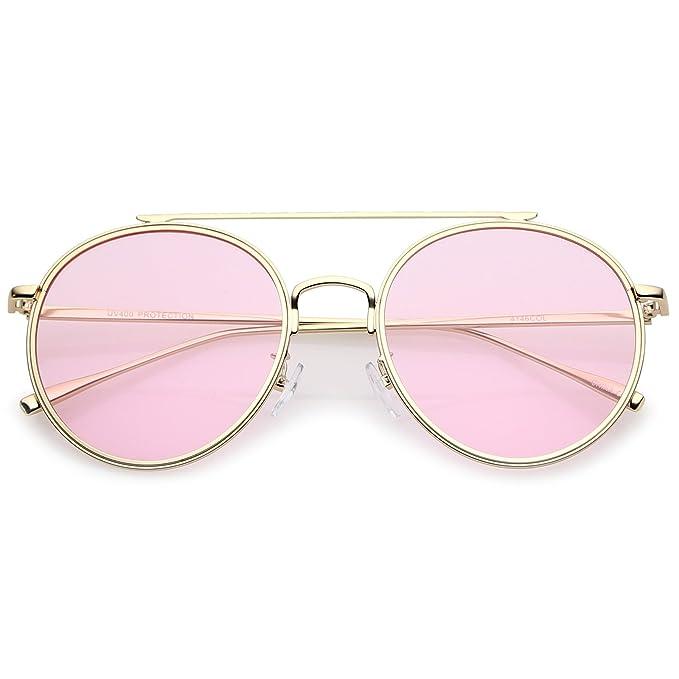 f9537864c69 sunglassLA - Modern Metal Crossbar Slim Temple Colored Flat Lens Round  Aviator Sunglasses 54mm (Gold