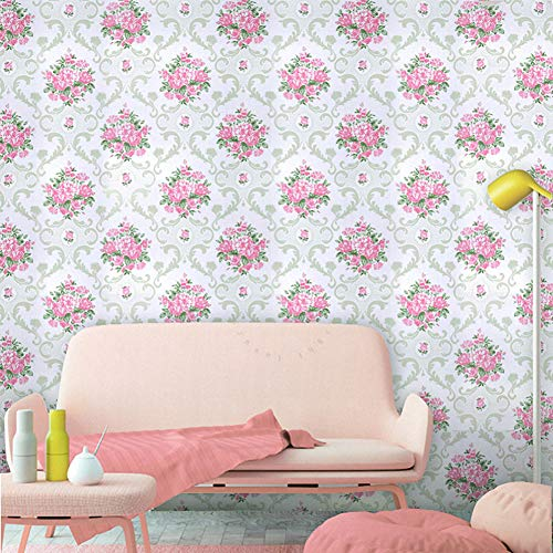 LIFAVOVY Pink Floral Damask Wallpaper Peel and Stick Contact Paper Decorative Self Adhesive Shelf Drawer Liner Roll 17.7