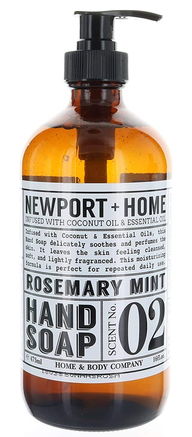 Newport Home and Body Co Hand Soap, Rosemary Mint, Glass Bottle