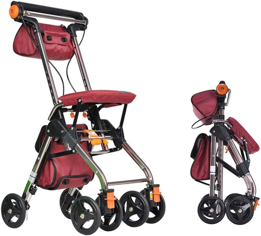 WYFC Ligero Plegable 4 (6) Andador de Ruedas con Asiento Acolchado, Frenos bloqueables, manijas ergonómicas y Bolsa de Transporte, Ayuda de Movilidad Limitada, Hombres y Unisex,Blue