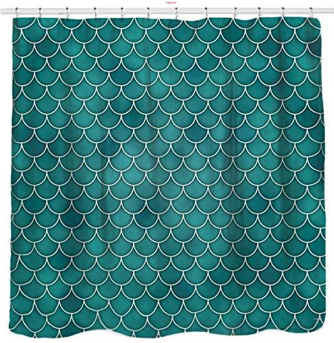 Sunlit Designer Mermaid Tail Scale Geometric Shower Curtain Set PVC Free, Water Repellent Fabric. Fairy Tales Ocean Theme Turquoise Bathroom Décor.