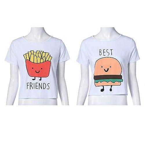 Camiseta de impresión divertida Camisetas de algodón de las mejores amigas Tops camiseta de manga co...
