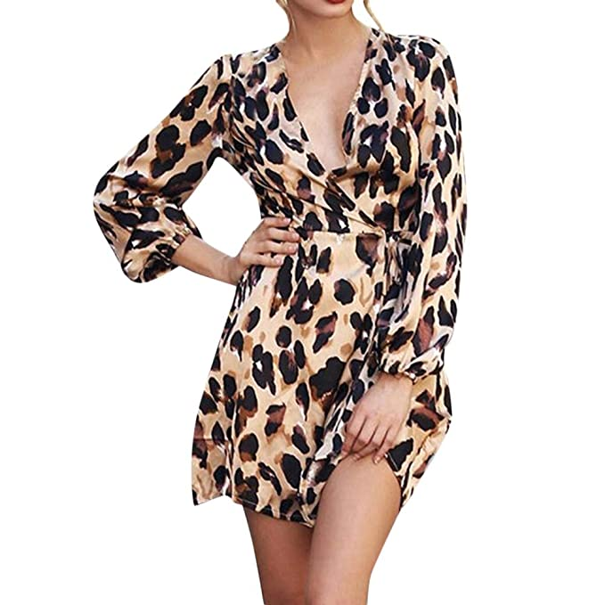 Beladla Vestido De Mujer Sexy Estampado De Leopardo Blusas Mujer Elegantes Sexy Camiseta Casual con Cuello En V Y Manga Tres Cuartos Superpuesta Party ...