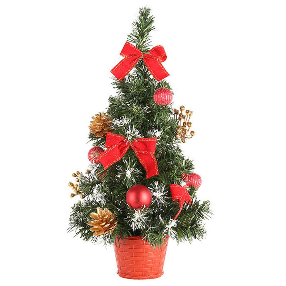 YLCOYO Artificial Tabletop Mini Christmas Tree Decorations Festival Miniature Tree (Red 40cm)