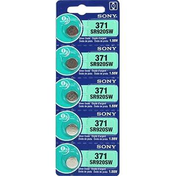 5x Sony Reloj Baterías Pila de botón SR920SW 371 [Paquete de 5 Baterías} : Amazon.es: Electrónica