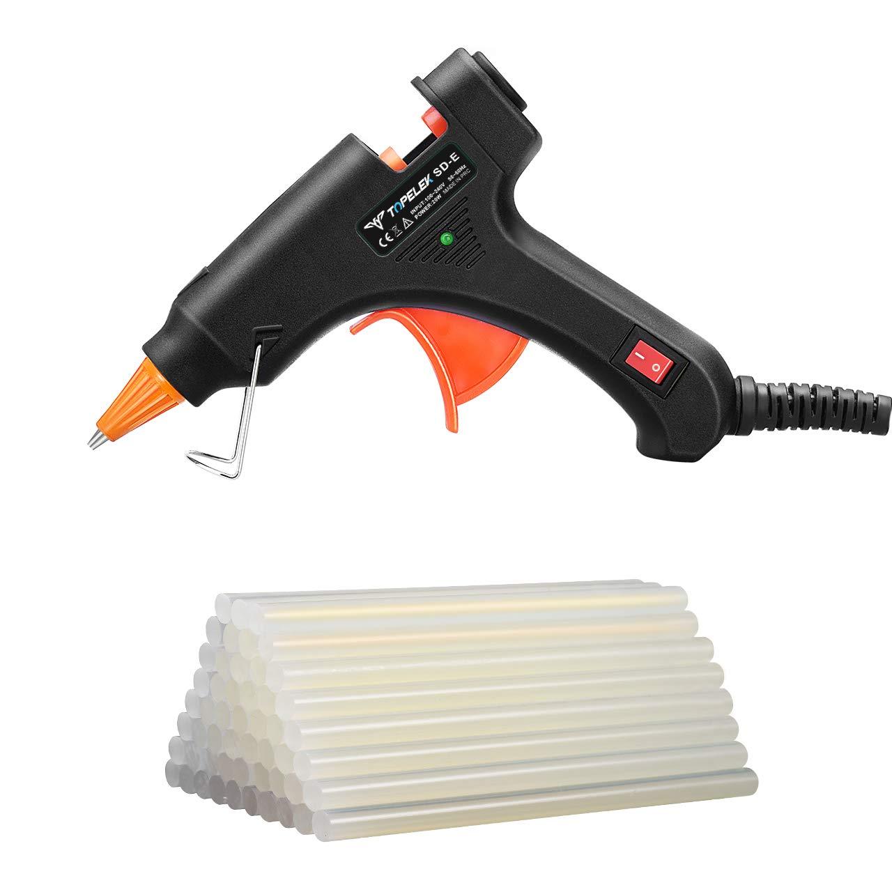 Glue Gun, TopElek Mini Hot Glue Gun with 50pcs Hot Glue Sticks, Melting Glue Gun Set for School DIY Arts and Crafts Projects, Home Quick Repairs(20 Watts, Black)