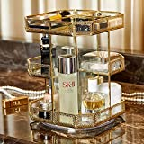 types of countertops PuTwo Makeup Organizer 360 Degree Rotating 3 Layers Large Multi-Function Makeup Storage Glass Vintage Cosmetic Organizer for Countertop Bathroom Dresser Fits Different Types of Cosmetics - Gold