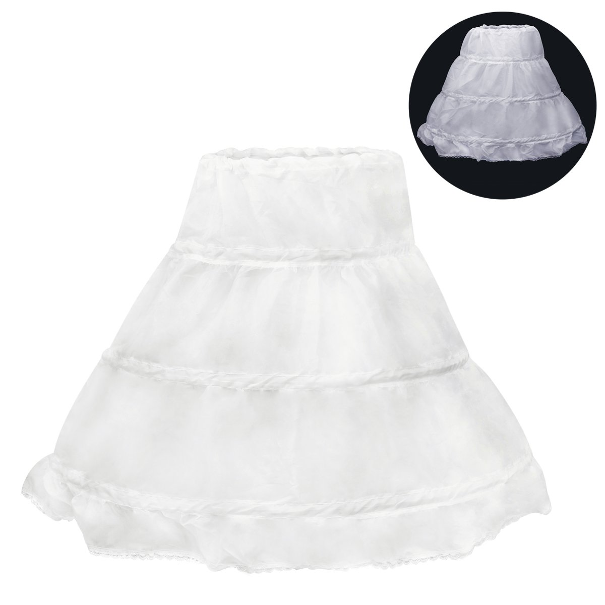 f79b48f05f3d DescriptionThis crinoline skirt is beautiful dress for children. It has 3  steel hoops, elastic design with hook and loop straps and and is foldable.