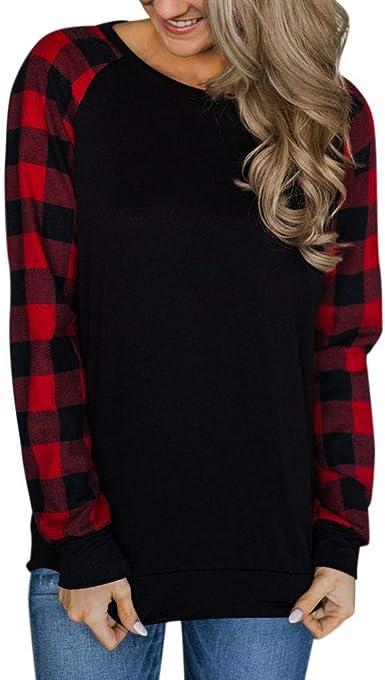 JURTEE Camisa Cuadros Mujer Moda Clásica Casual Patchwork Cuello Redondo Sudadera Tops Manga Larga Blusa Camisa: Amazon.es: Ropa y accesorios