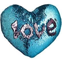 JING GREAT Mermaid Throw Pillow with Insert,Two-color Heart Shape Reversible Sequins Decorative Pillow. 13''×15'' (Blue+Pink)