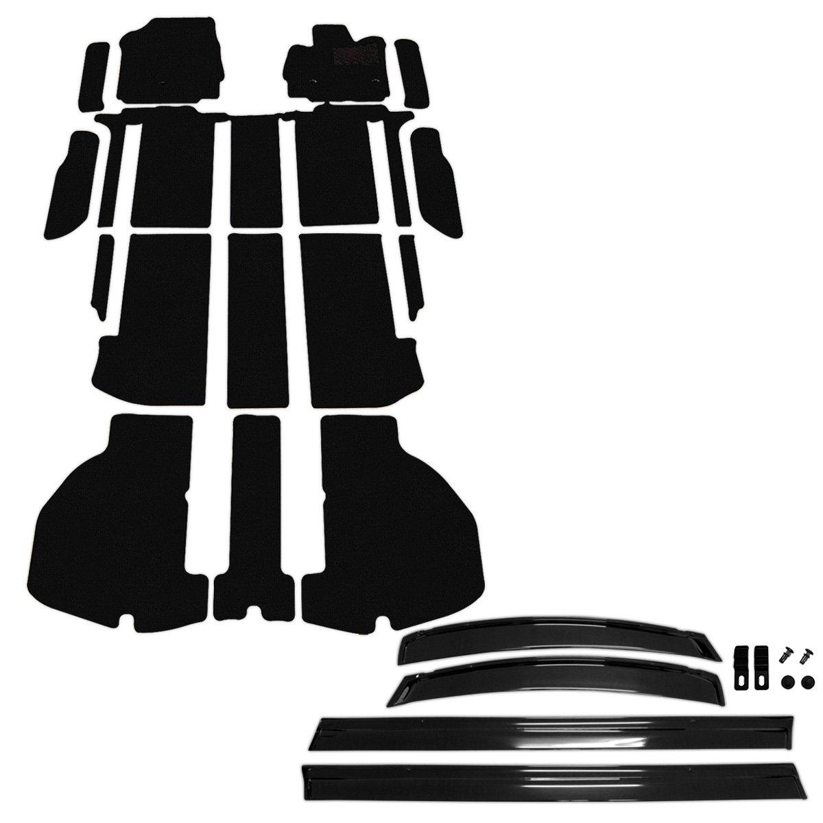 D.Iプランニング カー用品 フロアマット & ステップマット & サイドバイザー セット 型番5 【 トヨタ アルファード 30系 】 車用 カーマット DX黒 B00YM1MFTW 型番5|DX黒 DX黒 型番5