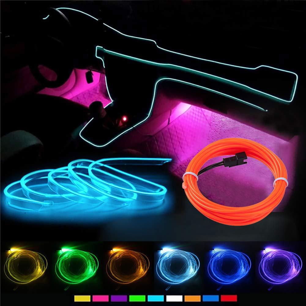 HopeU5/® 5m EL Wrie Neon Light Incandescente Strobing Automotive Luce flessibile EL Rope Neon Sign Impermeabile LED Strip con controller Interni auto Decorazioni Viola