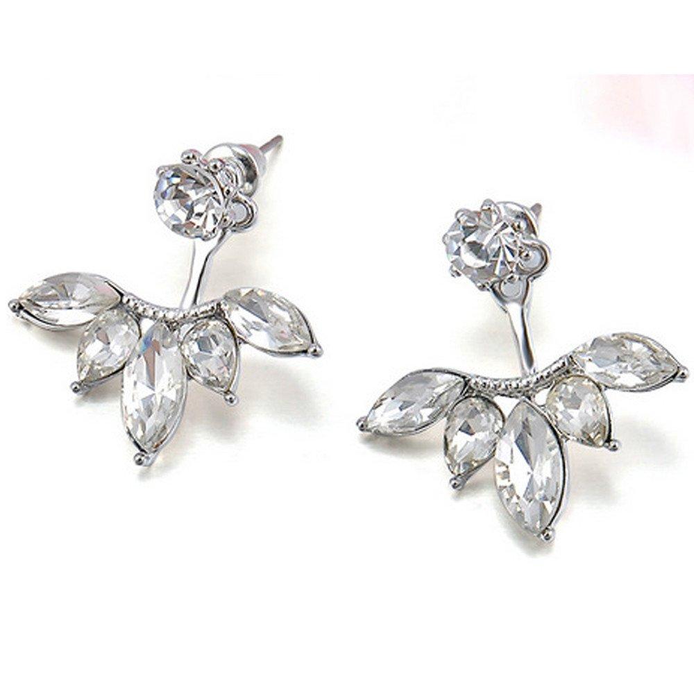 White WaiiMak Fashion Women Girl Rhinestone Crystal Drop Alloy Ear Studs Earrings