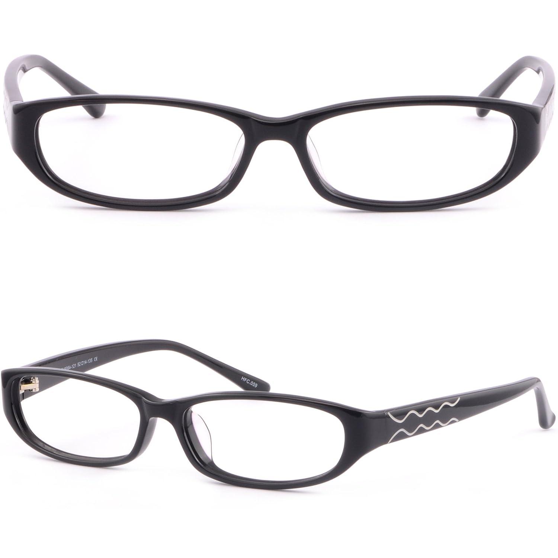 3ff12b73be Amazon.com  Small Full Rim Oval Womens Plastic Frame Prescription Glasses  Acetate Black  Clothing